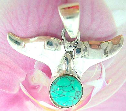 Whale tail pendant in sterling silver with green turquoise for Handley rock jewelry supply vancouver wa