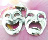 Drama double mask theme 925. sterling silver pendant
