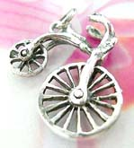 Unique kids bike theme necklace charm with movable wheel, made from sterling silver