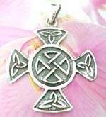 Trendy Celtic art decorated cross on sterling silver pendant