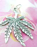 New age pot leaf motif, sterling silver pendant