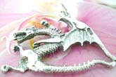 Flying dragon motif sterling silver pendant