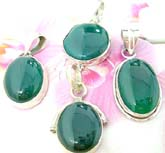 Assorted real green agate stone made of 925. sterling silver pendant, randomly picked by warehouse staff