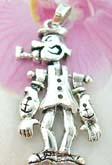 Popeye figure necklace charm, with movable head, arms and legs, made from sterling silver