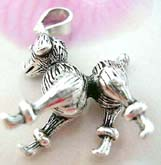 Standard poodle theme sterling silver pendant with head, legs and tail that move