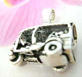 Old school 3-wheel car motif sterling silver pendant with wheels that move