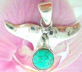 Whale tail pendant in sterling silver with green turquoise stone