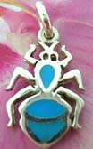 Stylish Spider sterling silver pendant with turquoise