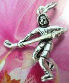 Olympic hockey player pattern sterling silver necklace charm