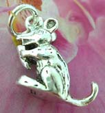 Mouse and cheese theme sterling silver pendant