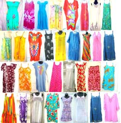 Assorted Bali lady's dresses included Kaftan/Caftan, Tank Sun Dress, Cap Sleeves Dress and Plus Size Dress