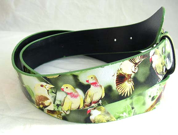 Wholesale girl's accessory - imitation leather belt with summer garden birds flying animal decor