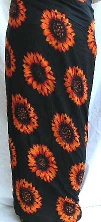 Wholesale trendy fashion-long skirt in mono black color with multi sun flowers