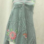 wholesale summer dress. Angle cut short dress with tube top and neck tie. Rayon, handmade in Bali Indonesia.