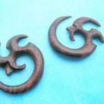 bali wooden earrings earlets. wooden flesh plugs and ear stretchers.