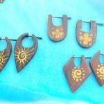 flesh plugs organic earrings. painted designs of peg earrings.