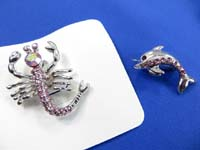 assorted cz crystal pins brooches