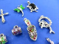 cz embebed pendant charms in assorted designs