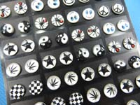 stainless-steelLogo Ear Stud Earring, Mainly Black and White Color