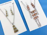 wired jewelry earring and pendant on silver plated chain necklace set