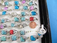 Assorted mixed color gemstone fashion rings with cz
