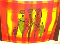 Handpainted, tie dye red and yellow tribal theme pareo shawl
