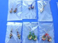 Chinese art cloisonne earrings with beautiful beads
