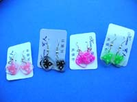 Beauty wear accessory earrings with design inlaid in translucent square charms